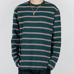 3LINE STRIPE L/S TEE (GREEN)